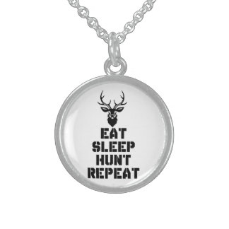 Eat Sleep Hunt Repeat Sterling Silver Necklace