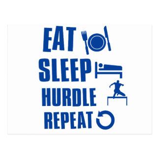 Eat sleep hurdle postcard