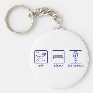 Eat..Sleep..Ice Cream! Basic Round Button Keychain