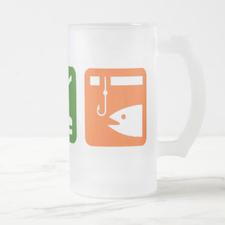Eat Sleep Ice Fishing Frosted Glass Beer Mug