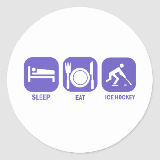 eat sleep ice hockey classic round sticker