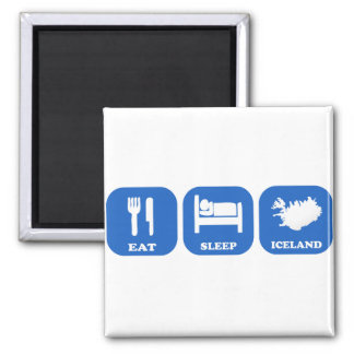 Eat Sleep Iceland 2 Inch Square Magnet