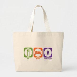 Eat Sleep Investigate Large Tote Bag