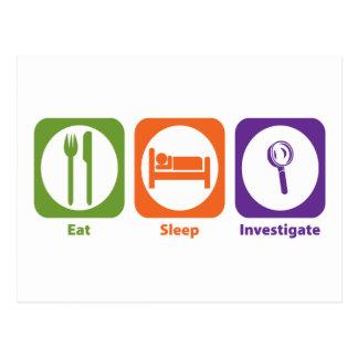Eat Sleep Investigate Postcard