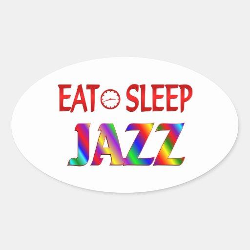 Eat Sleep Jazz Oval Sticker