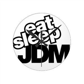 eat sleep JDM Round Clock