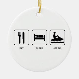Eat Sleep Jet Ski Double-Sided Ceramic Round Christmas Ornament