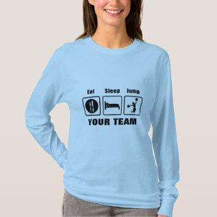 Eat Sleep Jump Cheerleader Long Sleeve Light Shirt at Zazzle