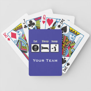 Eat Sleep Jump Cheerleader Playing Cards at Zazzle
