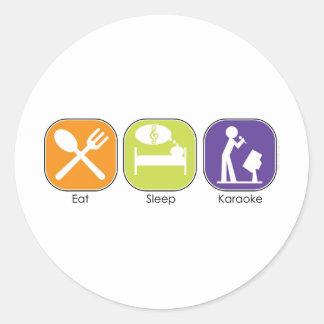 Eat Sleep Karaoke Classic Round Sticker