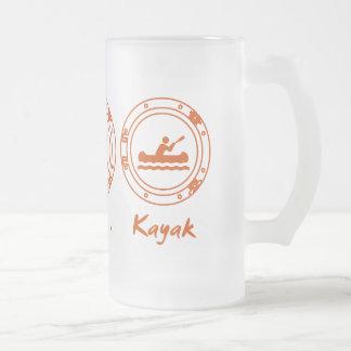 Eat Sleep Kayak Frosted Glass Beer Mug