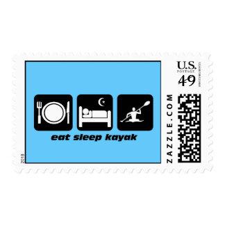 eat sleep kayak postage stamps