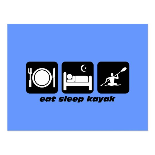 eat sleep kayak postcard