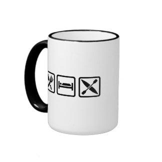 Eat Sleep Kayak Ringer Coffee Mug