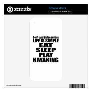 EAT SLEEP KAYAKING iPhone 4S SKINS