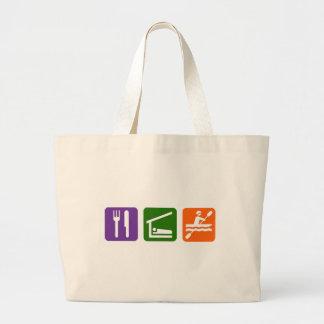 Eat Sleep Kayaking Large Tote Bag