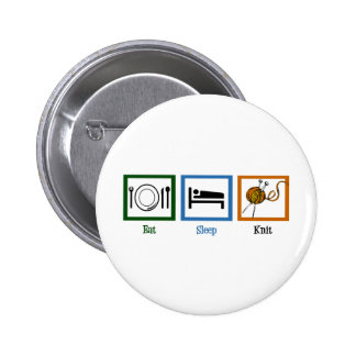 Eat Sleep Knit 2 Inch Round Button