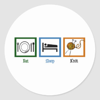 Eat Sleep Knit Classic Round Sticker