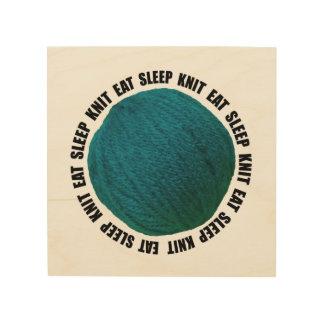 Eat Sleep Knit • Craft Room • Teal Yarn Ball Wood Wall Art