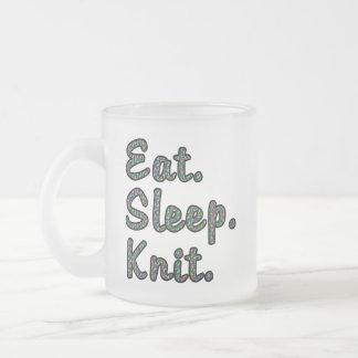 Eat. Sleep. Knit. Frosted Glass Coffee Mug