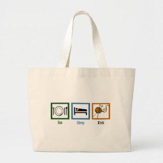 Eat Sleep Knit Large Tote Bag