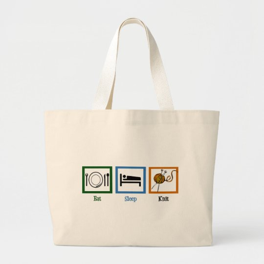 Eat Sleep Knit Large Tote Bag