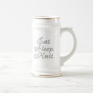 Eat. Sleep. Knit. (mug) Beer Stein