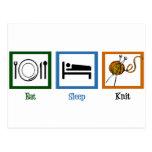 Eat Sleep Knit Postcard