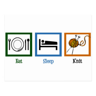 Eat Sleep Knit Postcard