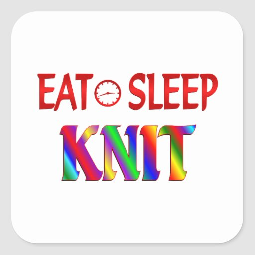 Eat Sleep Knit Square Sticker