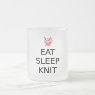 Eat, sleep, knit with heart shaped red yarn frosted glass coffee mug