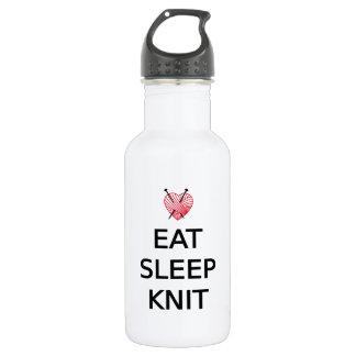 Eat, sleep, knit with heart shaped red yarn water bottle