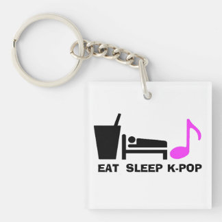 Eat Sleep Kpop Keychain (Dual Colour)