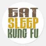 Eat Sleep Kung Fu 1 Round Sticker