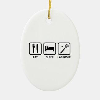 Eat Sleep Lacrosse Ceramic Ornament