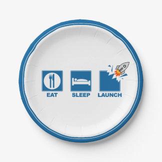 Eat Sleep Launch Paper Plate