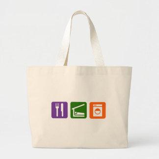 Eat Sleep Laundry Large Tote Bag