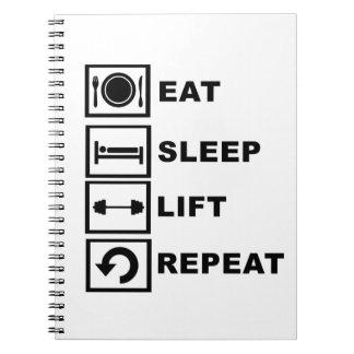 Eat, sleep, lift, repeat. notebook