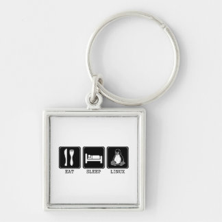 Eat. Sleep. Linux. Silver-Colored Square Keychain
