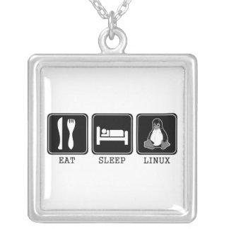 Eat. Sleep. Linux. Square Pendant Necklace