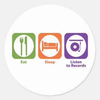 Eat Sleep Listen to Records Classic Round Sticker