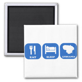 Eat Sleep Lithuania 2 Inch Square Magnet