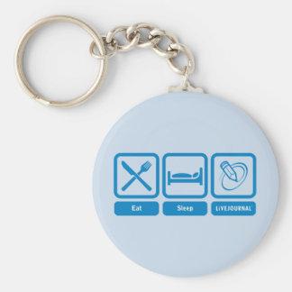 Eat, Sleep, LiveJournal Basic Round Button Keychain