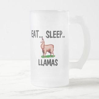 Eat Sleep LLAMAS 16 Oz Frosted Glass Beer Mug