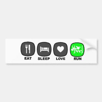 Eat. Sleep. Love. Run. Green Car Bumper Sticker