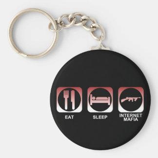 Eat Sleep Mafia Basic Round Button Keychain
