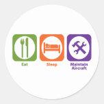 Eat Sleep Maintain Aircraft Classic Round Sticker