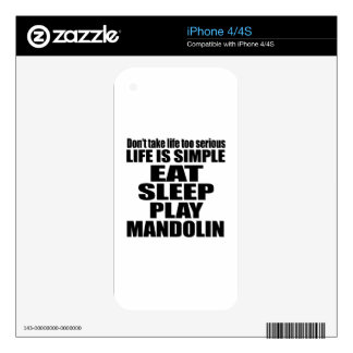 EAT SLEEP MANDOLIN DECALS FOR iPhone 4S