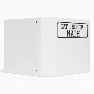 Eat Sleep Math 3 Ring Binders