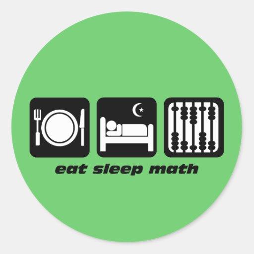 eat sleep math classic round sticker